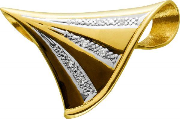 Antiker Diamant Anhänger Geldbgold Weissgold 585 Diamanten 8/8 Schliff W/SI Zus. 0,03ct Um 1970 TOP Zustand