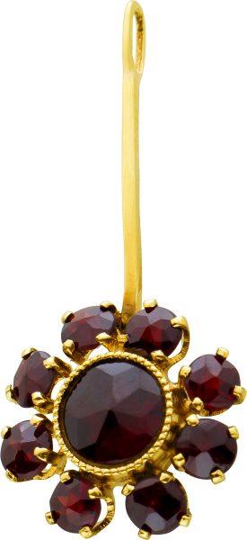 Antiker Granat Anhänger Gelbgold 333 Edelsteine Rot Facettiert Um 1920 Guter Zustand