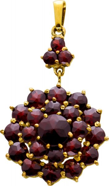 Antiker Granat Anhänger Gelbgold 333 Granat Edelsteine Rot Rund Facettiert Beweglicher Teil Um 1920 TOP Zustand