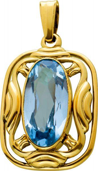 Antiker Topas Anhänger Gelbgold 333 Edelstein Hellblau Oval Facettiert Ca. 4 Carat Um 1920 TOP Zustand