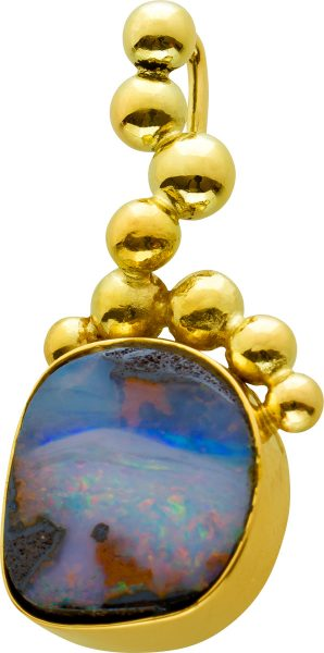 Antiker Opal Anhänger Gelbgold 585 Edelstein Um 1970 Guter Zustand