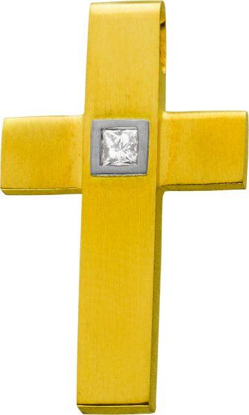 Diamant Kreuz Gelbgold 750 Princess Cut  0,15ct TW VSI