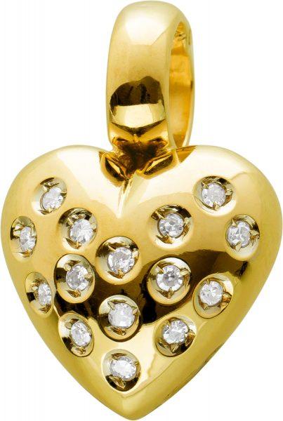 Einhänger Anhänger Gelbgold 585 mit 15 Diamanten zus. 0,15ct 8/8 W/I1