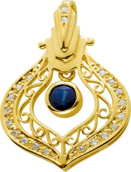 Safir Diamant Anhänger Gelbgold 585, 28 Diamanten 8/8 W/I1 zus. 0,14ct,blauer Saphir
