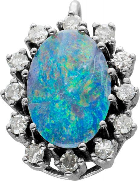 Antiker Opal Anhänger,Weissgold,585,12 Diamanten 8/8 zus. 0,25ct W/SI