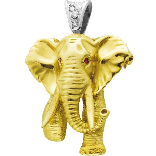 Antiker Elefant Anhänger Gelbgold 585, 2 Rubin Augen, 6 Brillanten zus.0,12ct W/SI-I1
