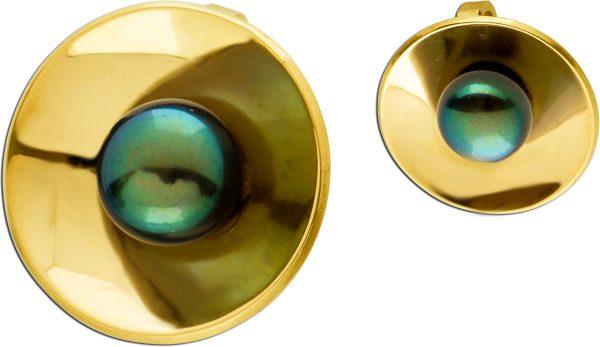 Akoyaperlen Anhänger Gelbgold 18 Karat 1 Anthrazitfarbene Perle 8,3mm