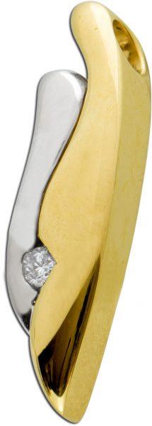 Anhänger Gelbgold Weissgold 14 Karat Bicolor 1 Brillant 0,05ct TW/SI 21x6mm