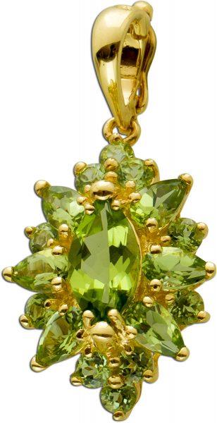 Peridot Anhänger Gelbgold 333 Grüner Edelstein Einhängeclip