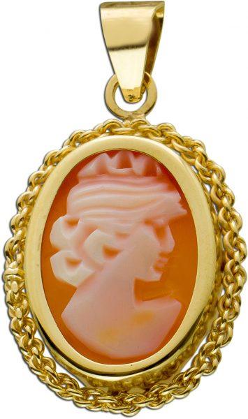 Antiker Achat Gemme Anhänger Gelbgold 333 Edelstein Um 1960 TOP Zustand