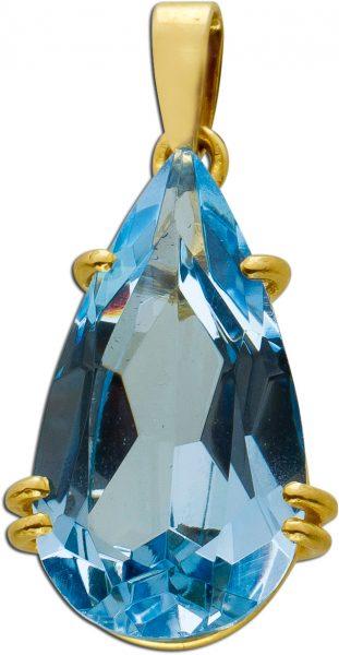 Antiker Beweglicher Blautopas Anhänger Gelbgold 333 Edelstein Um 1980 TOP Zustand