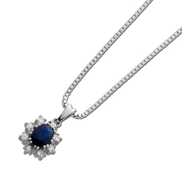 Saphir Diamant Collier Weiss Gold 585 1 echter Saphir Edelstein Lady DI Style Anhänger 42cm mit Görg Zertifikat