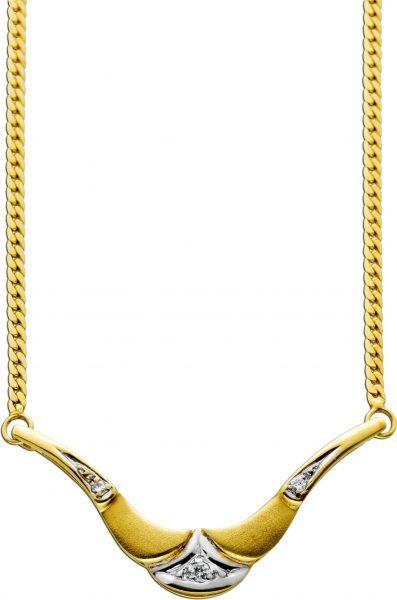 Gelb Gold 333 Collier Kette Anhaenger Brillanten 0,035ct TW/SI  42cm