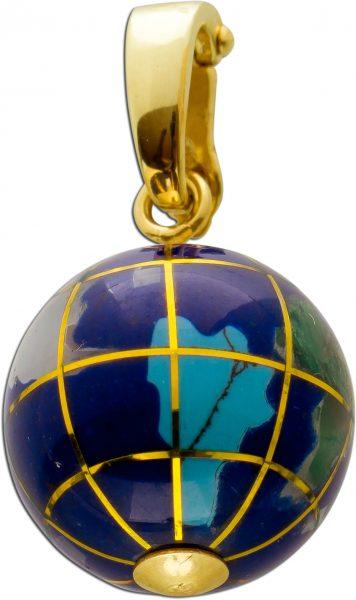 Lapislazuli Weltkugel Gelbgold 333 Anhänger Einhängeclip Jade Türkis Opal Aquamarin Achat 27x15mm
