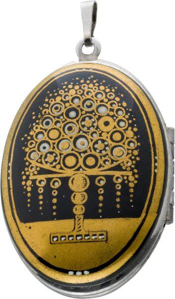 Antik 1960 Medaillon Stahl 18 Karat Feingold vergoldet Wiener Künstlerin Michaele Frey Feuer Emaille Sammlerstück wie Neu Unikat