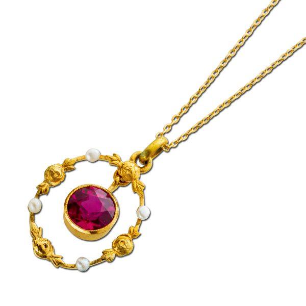 Antik 1850 Collier Gelbgold 585 entspricht 14Karat Spinell Edelstein rot leuchtend mit feinsten Flussperlen Rarität