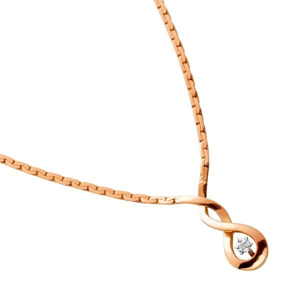 Antikes Collier um 1970 1 Diamant im Anhänger 8/8 W/J1 0,01ct Gelbgold 333 40cm Länge