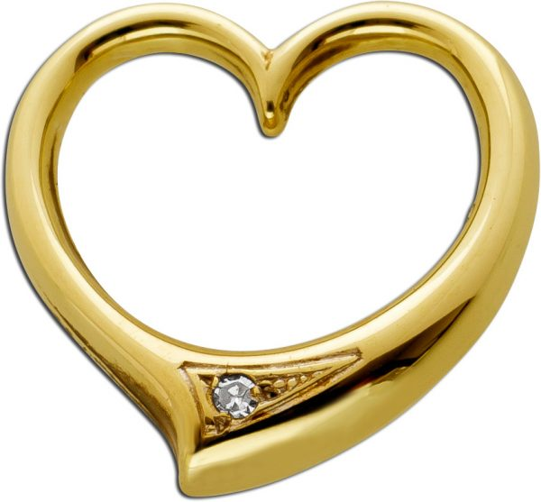 Herz Anhänger 8 Karat 333 Gelbgold 1Diamant 0,01ct 8/8 TW/SI Swinging Hearth schwingendes Herz