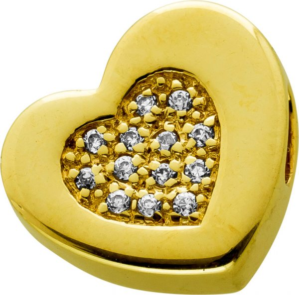 Herz Anhänger Swinging Heart Gelbgold 333 8 Karat 14 Diamant Synthesen