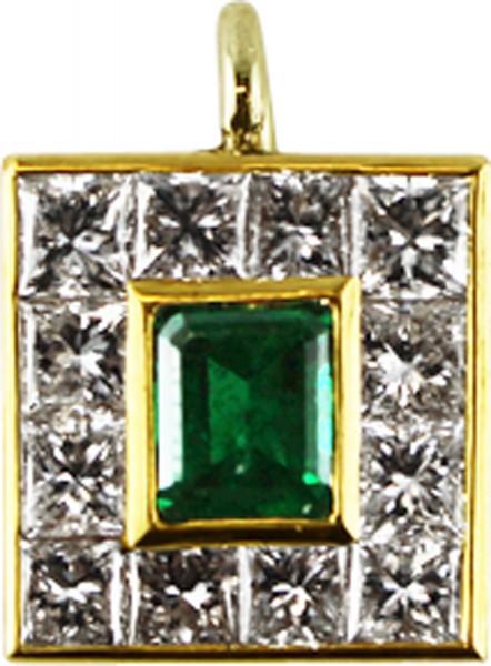 Anhänger Gelbgold 585 mit Smaragd und 1...