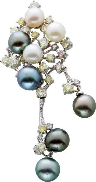 Perl Diamant Anhänger Weissgold 750/- B...