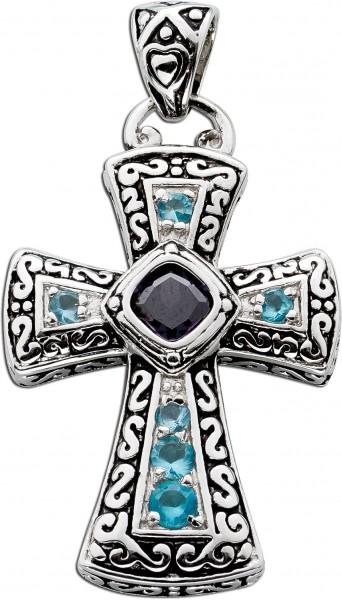 Kreuzanhänger Blautopas violetter Amethyst Silber 925 blaue violette Edelsteine