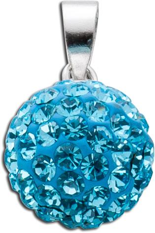 Kristall Kettenanhänger Silber 925 hellblau blautopasfarben rund funkelnd