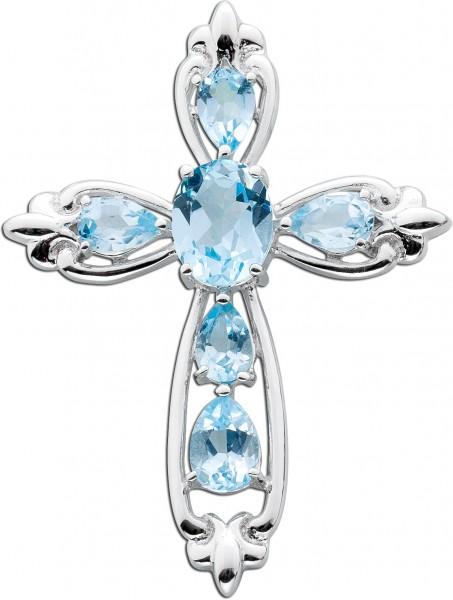 Blauer Kreuz Anhänger  Silber 925 Blautopas