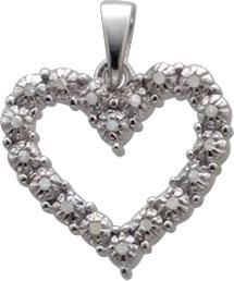 Eleganter Herz-Anhänger aus echtem Silber Sterlingsilber 925/-, poliert, mit 18 strahlenden Diamanten. Maße des Anhängers 20x17mm. Lochgröße 6mm. Nur bei Abramowicz zum Discountpreis. Kommen Sie auch in unseren Outletverkauf in Stuttgart.