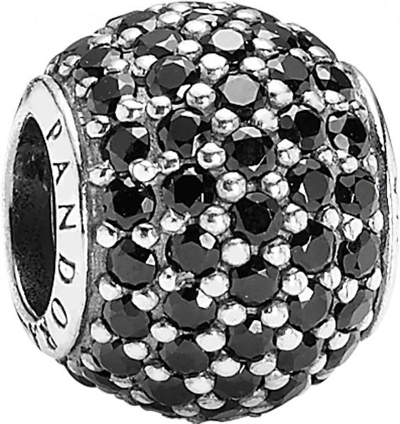 PANDORA Bead Pavée schwarze Zirkonia Modell Nr. 791051NCK  Wunderschönes Bead aus poliertem 925/- Silber Sterlingsilber, teilweise geschwärzt, verziert mit kleinen schwarzen Zirkoniasteinen in Pavéefassung. Größe 8,5 x 10,5 mm Gewicht 1 g  Ein Universum a