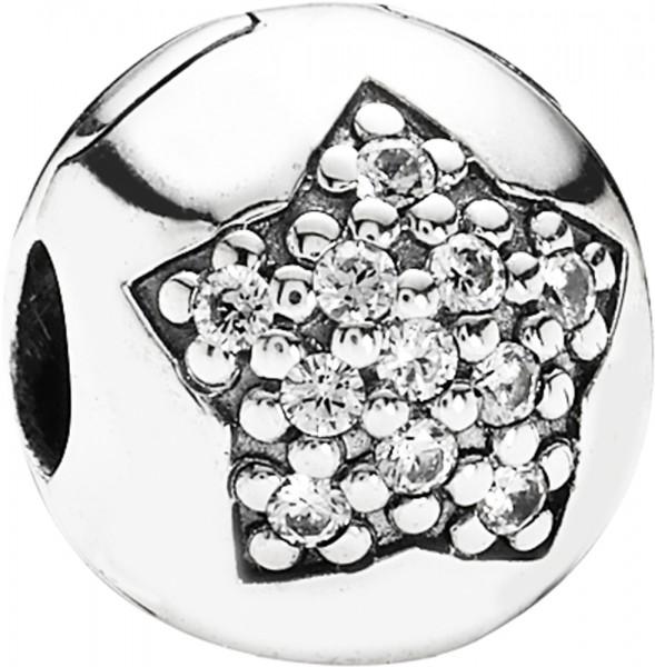 PANDORA Clip-Bead in Sternform Modell Nr. 791056CZ   PANDORA 791056CZ Stern Stopper Silber-Clip aus der PANDORA Moments Schmuckkollektion. Der PANDORA Clip ist mit einem Stern und weißen funkelnden Zirkoniasteinen verziert und wurde aus Silber Sterlingsil
