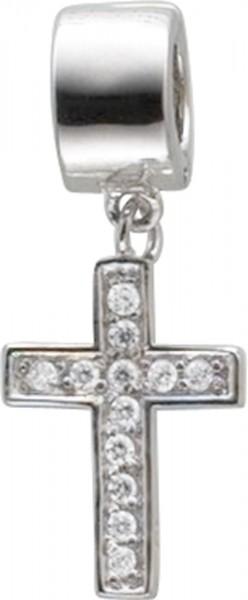 Trendiger Beadanhänger in  echtem Silber Sterlingsilber 925/-, rhodiniert, mit einem stabilem Klippverschluss. Der Beadkreuzanhänger ist besetzt mit 12 weißen, funkelnden Zirkonia. Geeignet für Ketten bis zu einer Stärke 5mm.  Die Gesamtlänge beträgt 3,0c
