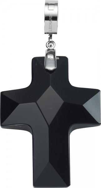 Leonardo Anhänger Black Cross Darlins Modellnr. 013294 Handgeschliffenes, schwarzes Glasstein Kreuz.  Sieht auch bei Männern gut aus! Die Größe des facettierten Anhängers mit praktischem Clipverschluss: Länge 6 mm x  Breite 3,1 mm. Passend z. B. für die H