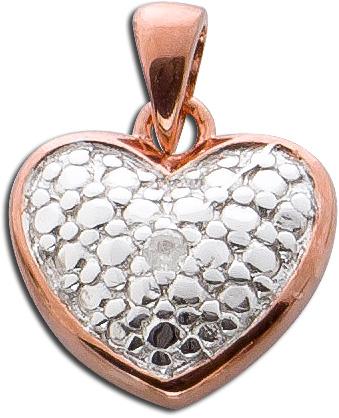 Anhänger Herz  Sterling Silber 925 Diamant W/P bicolor