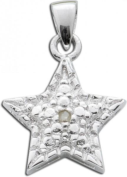 Diamanten Anhänger weiss Silber 925 Diamant Stern Anhänger