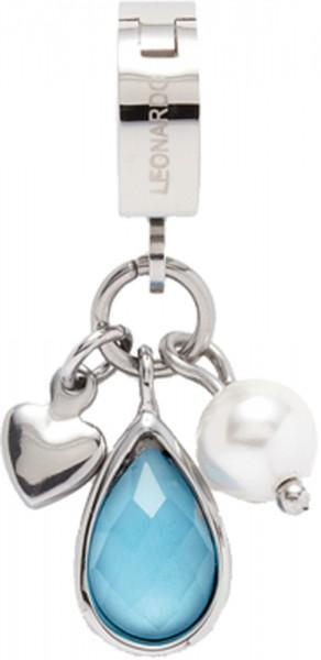 Leonardo 014306 Dolcetto darlins Anhänger in Edelstahl mit Herz, Süsswasserzuchtperle blauem Glasstein
