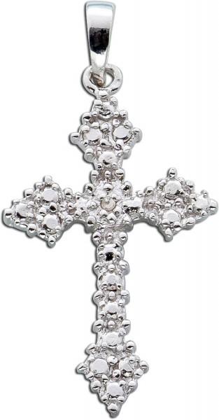 Anhänger Kreuz Sterling Silber 925 Diamant 8/8