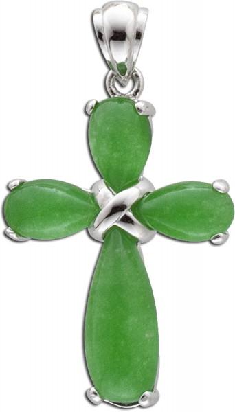 Anhänger Kreuz 925er Sterling Silber Jade