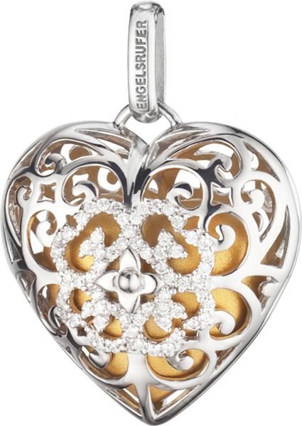 Engelsrufer ERP-09-HEART-ZI-L Anhänger Silber Sterlingsilber Zirkonia Klangherz gold
