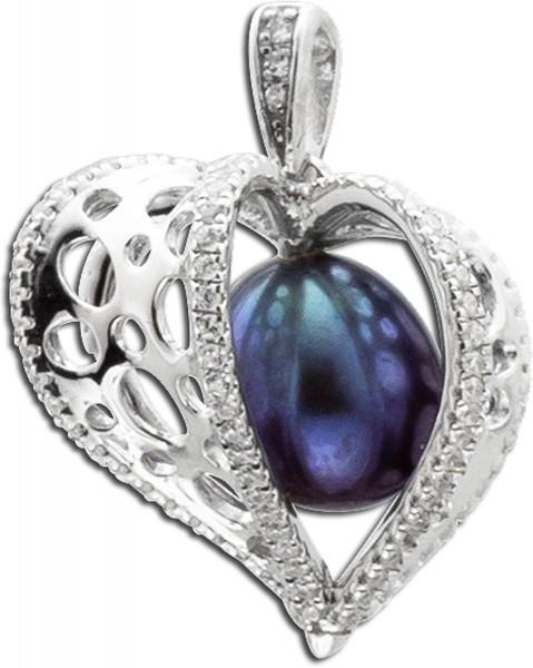 Anhänger Herz in Silber Sterlingsilber 925/- mit schwarzer Süsswasserzuchtperle