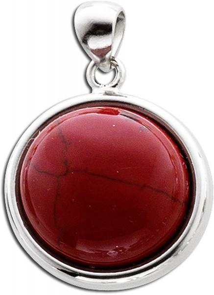 Korallen Kettenanhänger rot Silber 925 rekonstruiert roter Edelstein