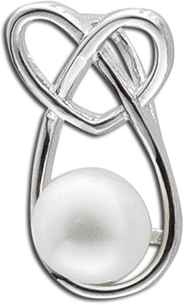 Anhänger, Silber Sterlingsilber, Silber 925/-, 1 Süsswasserzuchtperle, Brezel, Herz
