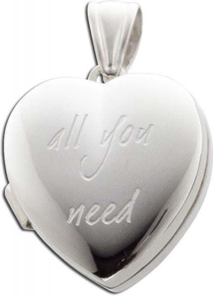 Anhänger Sterling Silber 925 Herz Medaillon zum öffnen