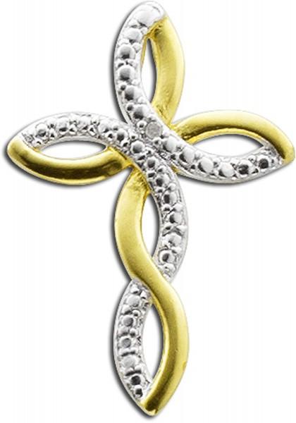 Anhänger Kreuz Sterling Silber 925 gelbvergoldet mit Diamant