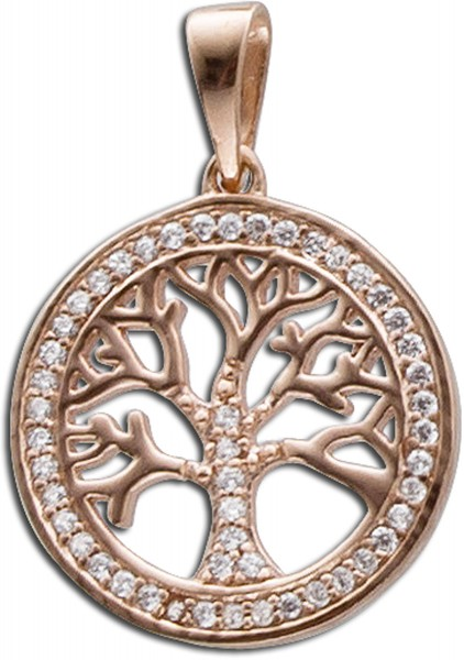 Anhänger Sterling Silber 925 rosévergoldet Lebensbaum mit Zirkonia