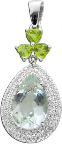Edelstein Kettenanhänger Silber 925 grüner Amethyst grüne Peridots weißer Topas
