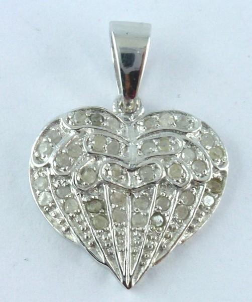 Diamant Herzanhänger Engel-Rufer Anhänger Sterling Silber 925