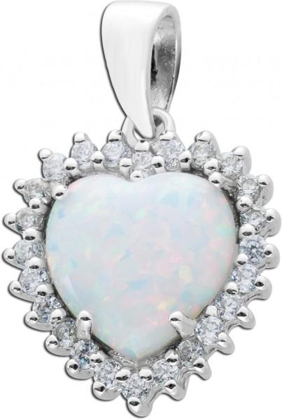 Herzanhänger Opal Silber 925 synth. Zirkonia weiss