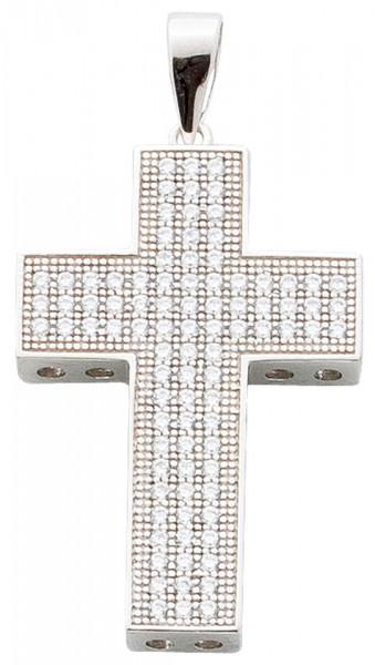 Kreuzanhänger Sterling Silber 925 rhodiniert Zirkonia