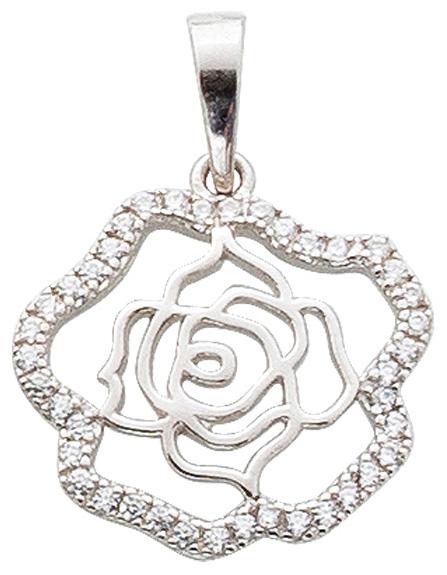 Rosenanhänger Sterling Silber 925 rhodi...